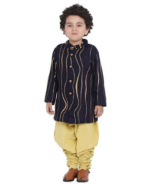 Wondermom Wavy Stripes Full Sleeves Sherwani With Pyjama - Blue
