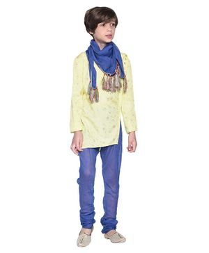 Wondermom Printed Full Sleeves Kurta With Pyjama & Stole - Yellow & Blue