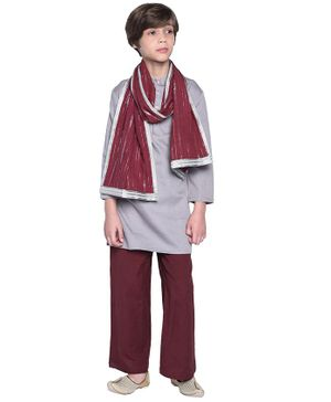 Wondermom Solid Full Sleeves Kurta With Pyjama & Stole - Grey & Maroon