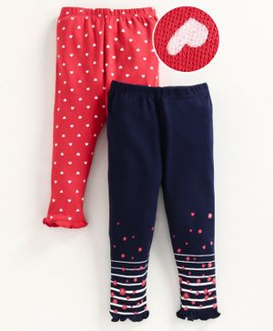 Babyoye Cotton Full Length Leggings Heart Print Pack of 2 - Red Blue
