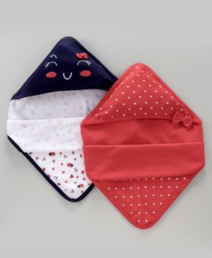 Babyoye Hooded Wrapper Set of 2 - Red & Blue
