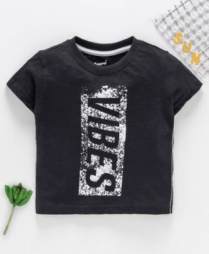 Smarty Half Sleeves T-Shirt Text Print - Black