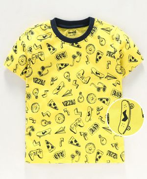 Smarty Half Sleeves T Shirt Multi Print - Yellow