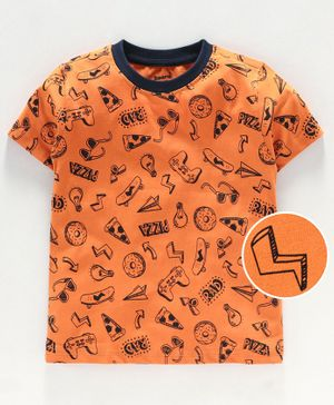 Smarty Half Sleeves T Shirt Multi Print - Orange