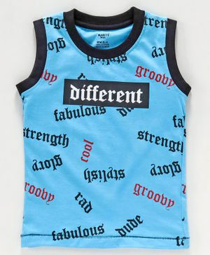 Smarty Sleeveless Tee Text Print  - Blue