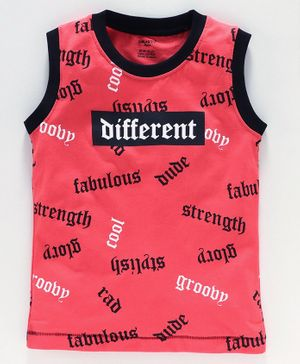 Smarty Sleeveless Tee Text Print  - Red