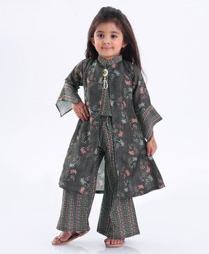 Enfance Flower Print Full Sleeves Jacket With Top & Palazzo Set - Multi Color
