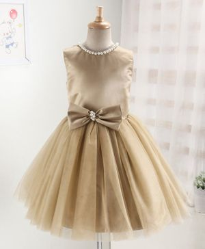 Enfance Sleeveless Pearl Detailed Neckline Fit & Flared Tulle Dress - Gold