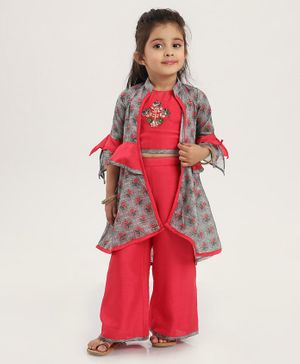 Enfance Flower Printed Three Fourth Sleeves Shrug With Top & Palazzo - Grey