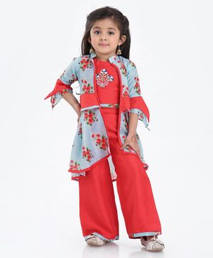 Enfance Flower Printed Full Sleeves Jacket With Top & Pants - Blue
