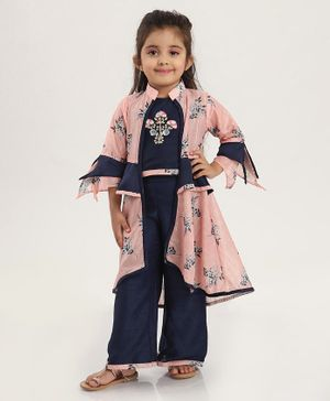 Enfance Flower Printed Three Fourth Sleeves Shrug With Top & Palazzo - Pink