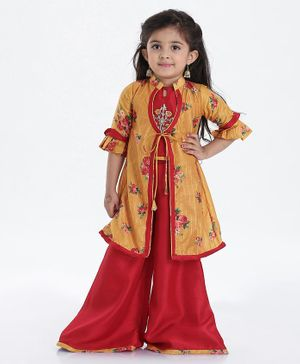 Enfance Three Fourth Sleeves Rose Print Front Knot Shrug With Top & Palazzo Set - Yellow Red