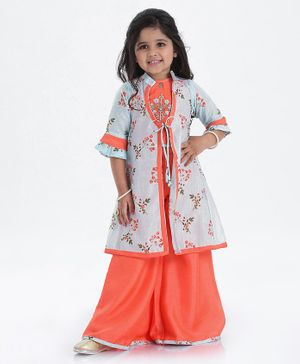 Enfance Three Fourth Sleeves Flower Print Front Knot Shrug With Top & Palazzo Set - Blue Orange