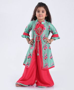 Enfance Three Fourth Sleeves Flower Print Front Knot Shrug With Top & Palazzo Set - Green Pink