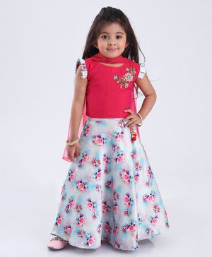 Enfance Sleeveless Brocade Patch Choli With Floral Print Lehenga & Dupatta Set - Pink Light Blue