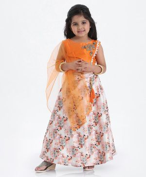 Enfance Sleeveless Brocade Patch Choli With Flower Print Lehenga & Dupatta - Orange Light Pink