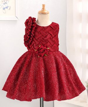 Enfance Rose Flower Decorated Sleeveless Shimmer Dress - Maroon