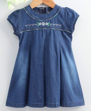 Enfance Core Cap Sleeves Flower Embroidery Detailing Flared Dress - Blue