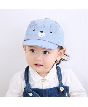 Ziory Bear Face Embroidered Baby Cap - Light Blue