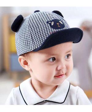 Ziory Checks Baby Cap With Animal Patch - Dark Blue