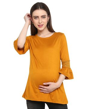 Momsoon Three Fourth Sleeves Lace Detailing Maternity Top - Yellow