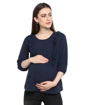 Momsoon Three Fourth Sleeves Frill Detailing Solid Maternity Top - Navy Blue