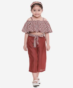 Aww Hunnie Half Sleeves Checkered Cold Shoulder Crop Top With Culottes - Brown
