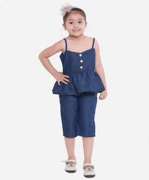 Aww Hunnie Sleeveless Peplum Top With Solid Capri Pants - Blue