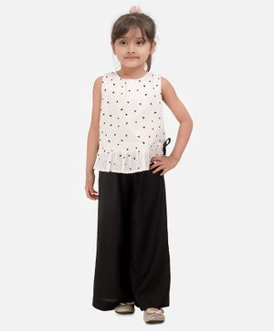 Aww Hunnie All Over Triangle Printed Sleeveless Top With Flared Pants - White & Black