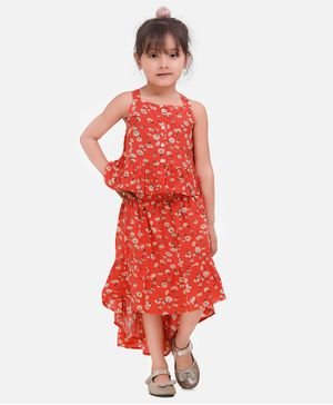 Aww Hunnie Sleeveless Floral Print Peplum Top With High Low Skirt - Orange