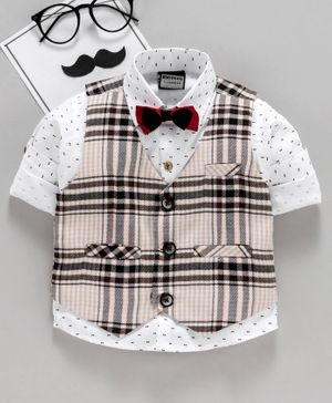 Rikidoos Roll Up Full Sleeves Printed Shirt With Checkered Waistcoat & Bow Tie - White & Beige