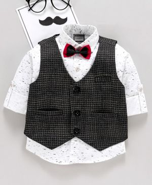 Rikidoos Roll Up Full Sleeves Printed Shirt With Checkered Waistcoat & Bow Tie - Black &  White