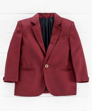 Rikidoos Solid Full Sleeves Blazer - Maroon