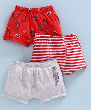 Babyoye Cotton Trunks Pack of 3 - Red Grey