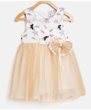 Kids On Board Butterfly Decorated Sleeveless Bow Dress - Beige
