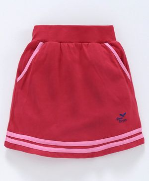Game Begins Skirt with Elasticated Waist - Red