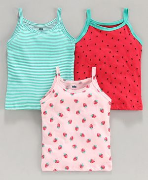 Doreme Singlet Printed & Striped Slips Pack of 3 - Pink Red Blue