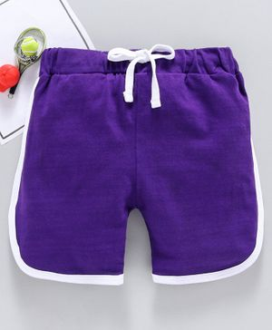 SWANKY ME Solid Drawstring Shorts - Purple