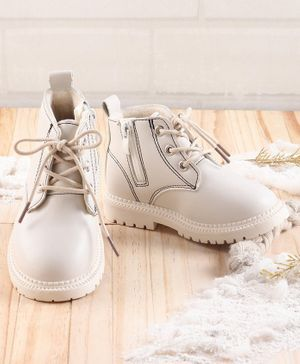 KIDLINGSS Lace Up Zip Closure Shoes - White