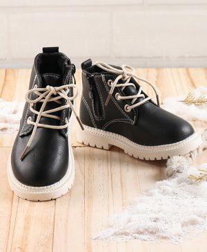 KIDLINGSS Lace Up Zip Closure Shoes - Black