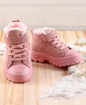 KIDLINGSS Lace Up Velcro Closure Faux Fur Lined Shoes - Pink