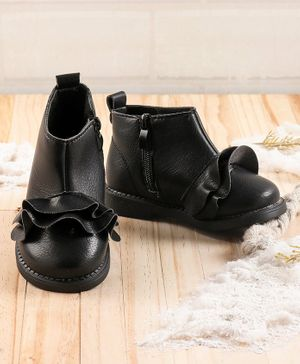 KIDLINGSS Ruffled Ankle Shoes - Black