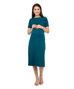 Mamacouture Maternity Cum Nursing Half Sleeves Dress - Green
