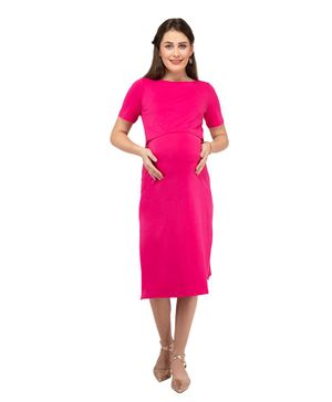 Mamacouture Maternity Cum Nursing Half Sleeves Dress - Pink