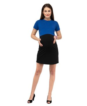 Mamacouture Solid Half Sleeves Maternity & Nursing Dress - Black & Blue