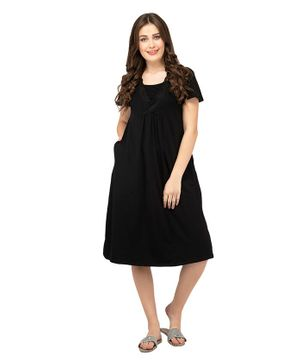 Mamacouture Solid Front Pocket Half Sleeves Maternity & Nursing Night Dress - Black