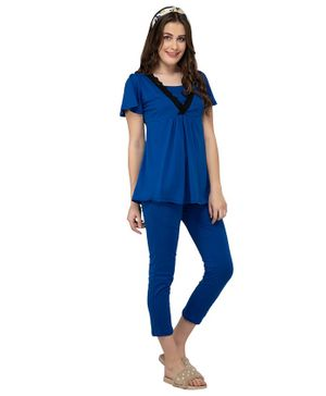Mamacouture Lace Detailed Maternity & Nursing Half Sleeves Night Top - Blue