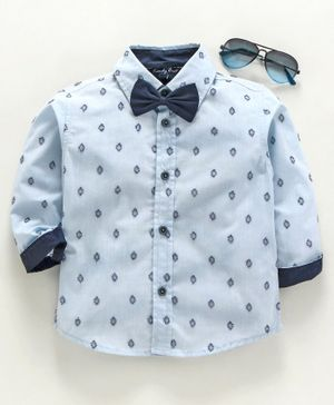 Trendy Cart Full Sleeves Dobby Pattern Shirt With Bow - Light Blue