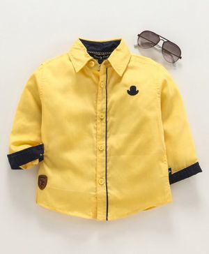 Trendy Cart Full Sleeves Hat Patch Shirt - Yellow