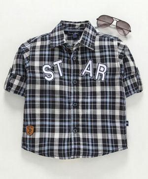 Trendy Cart Full Sleeves Star Patch Checked Shirt - Black